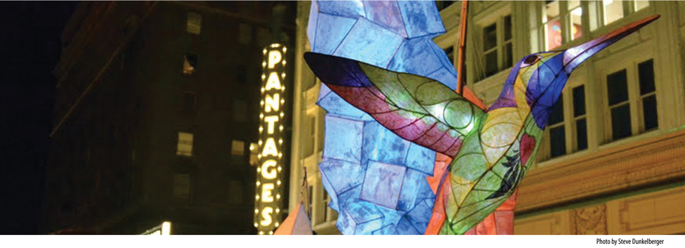 image of Pantages Theater sign with artwork. Photo by Steve Ounkelberger