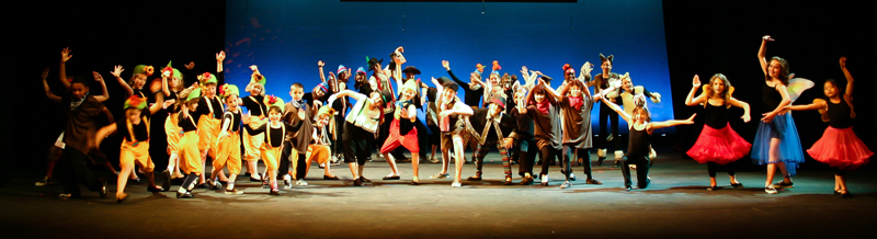 image of children dancing and posing on stage in various costumes