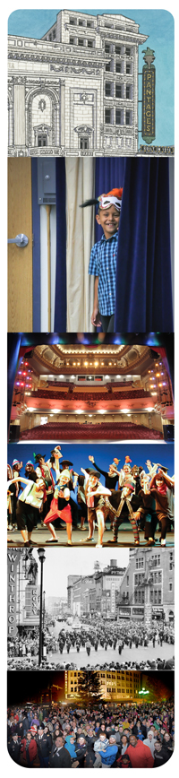 image collage of interior and exterior theater shots, people performing on stage