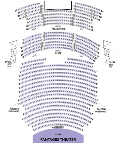 Pantages Theater Seating Chart for Tacoma City Ballet Events
